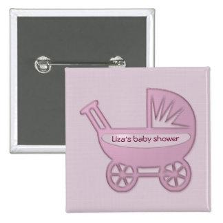 cochecillo de bebé rosado pin cuadrado