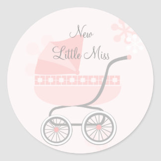 Cochecillo de bebé rosado suave pegatina redonda