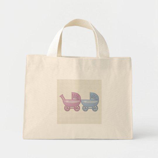 cochecillo de bebé rosado y azul bolsa de tela pequeña