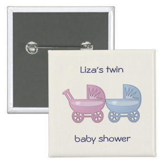cochecillo de bebé rosado y azul pin cuadrado