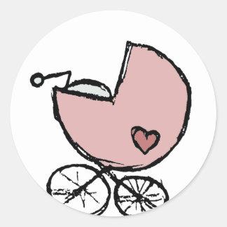 Cochecillo de la niña - travesía del bebé pegatina redonda