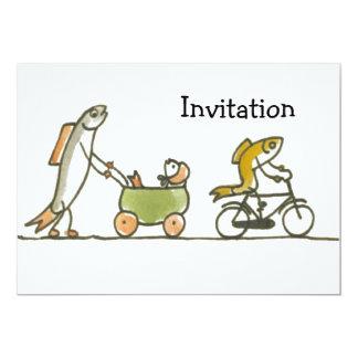 """Cochecillo y bici de los pescados invitación 5"""" x 7"""""""