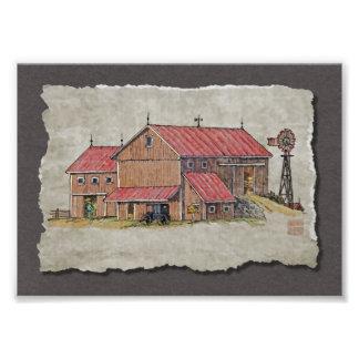 Cochecillo y molino de viento del granero arte con fotos