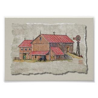 Cochecillo y molino de viento del granero impresion fotografica