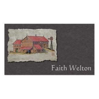 Cochecillo y molino de viento del granero tarjetas de visita