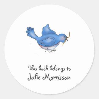 Cochecillos del patio trasero · Pájaro azul Pegatina Redonda