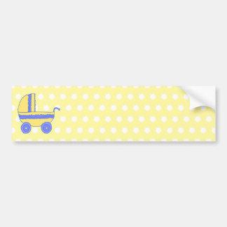 Cochecito de bebé amarillo y azul pegatina de parachoque