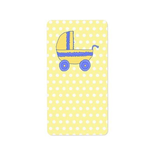 Cochecito de bebé amarillo y azul etiqueta de dirección