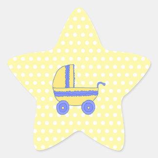 Cochecito de bebé amarillo y azul pegatina en forma de estrella