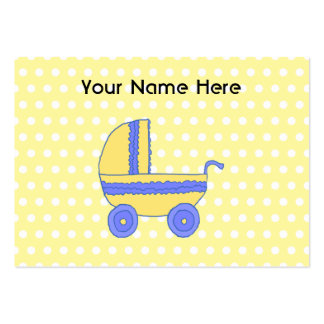 Cochecito de bebé amarillo y azul tarjetas de visita grandes