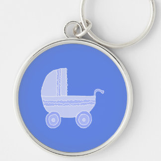 Cochecito de bebé. Azul claro en mediados de azul Llavero Redondo Plateado