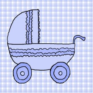Cochecito de bebé. Azul claro en modelo del contro Llavero Fotográfico