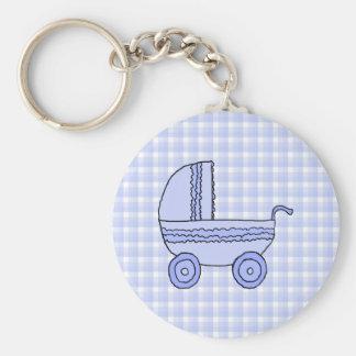 Cochecito de bebé. Azul claro en modelo del contro Llavero Redondo Tipo Pin