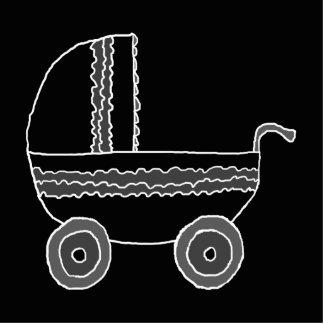 Cochecito de bebé blanco y negro esculturas fotográficas