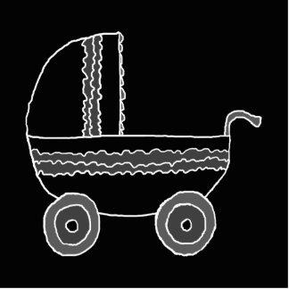 Cochecito de bebé blanco y negro fotoescultura vertical