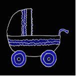 Cochecito de bebé negro y azul escultura fotografica