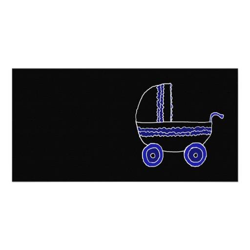 Cochecito de bebé negro y azul plantilla para tarjeta de foto