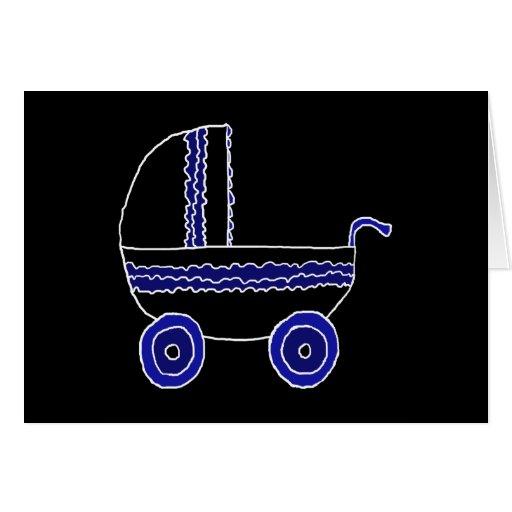 Cochecito de bebé negro y azul tarjeta de felicitación