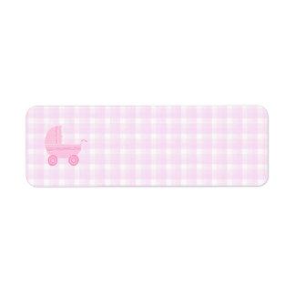 Cochecito de bebé Rosa claro en la guinga rosada Etiquetas De Remite