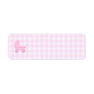 Cochecito de bebé. Rosa claro en la guinga rosada Etiqueta De Remitente