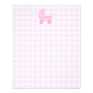 Cochecito de bebé. Rosa claro en la guinga rosada Flyer Personalizado