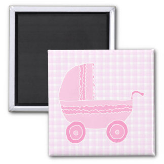 Cochecito de bebé Rosa claro en la guinga rosada Imán De Frigorifico