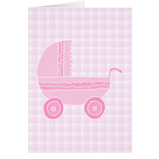 Cochecito de bebé. Rosa claro en la guinga rosada Felicitación