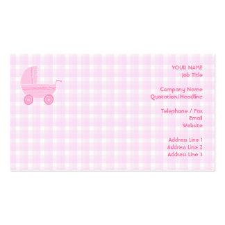 Cochecito de bebé. Rosa claro en la guinga rosada Tarjetas De Visita