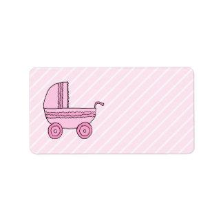 Cochecito de bebé. Rosa en rayas rosas claras Etiquetas De Dirección
