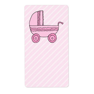 Cochecito de bebé. Rosa en rayas rosas claras Etiquetas De Envío