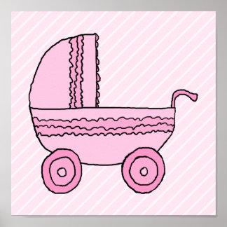 Cochecito de bebé. Rosa en rayas rosas claras Impresiones