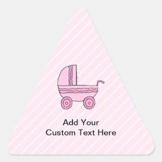 Cochecito de bebé. Rosa en rayas rosas claras Pegatina Triangular