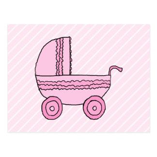 Cochecito de bebé. Rosa en rayas rosas claras Postal