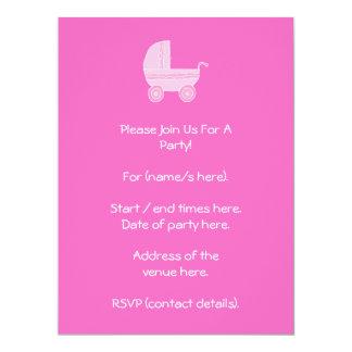 """Cochecito de bebé. Rosa rosa claro y brillante Invitación 6.5"""" X 8.75"""""""