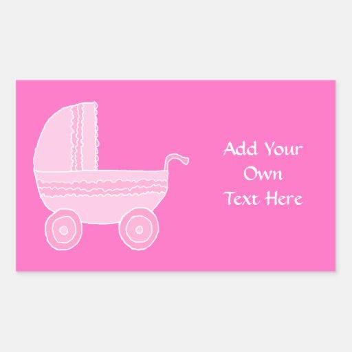 Cochecito de bebé. Rosa rosa claro y brillante Rectangular Altavoces