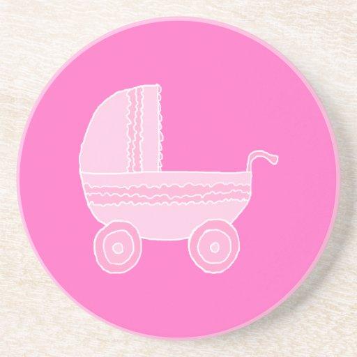 Cochecito de bebé. Rosa rosa claro y brillante Posavaso Para Bebida