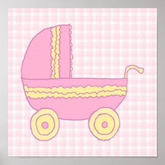 Cochecito de bebé. Rosa y amarillo en control rosa Poster