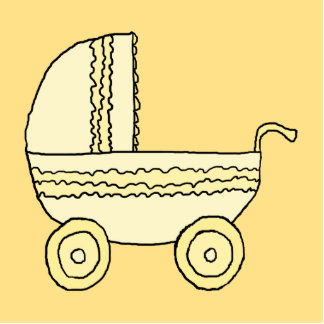 Cochecito de niño amarillo del bebé esculturas fotograficas
