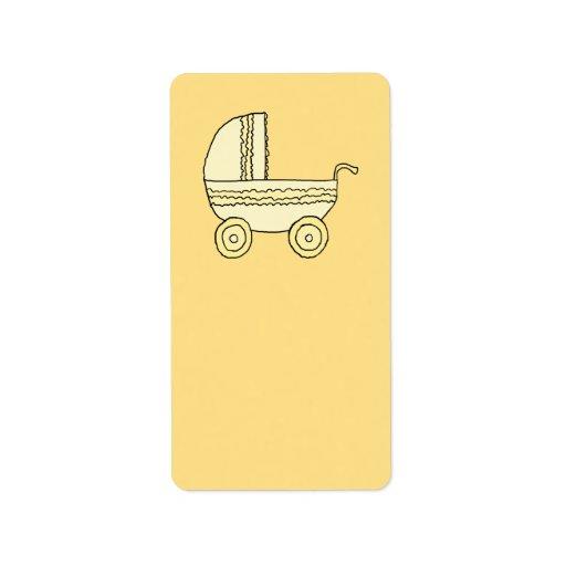 Cochecito de niño amarillo del bebé etiquetas de dirección