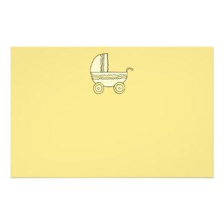 Cochecito de niño amarillo del bebé tarjetas publicitarias