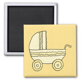 Cochecito de niño amarillo del bebé iman para frigorífico