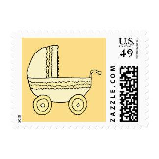 Cochecito de niño amarillo del bebé sello