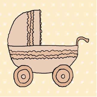 Cochecito de niño beige del bebé En fondo manchad Escultura Fotografica