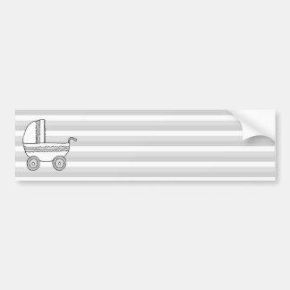 Cochecito de niño blanco y gris del bebé pegatina de parachoque