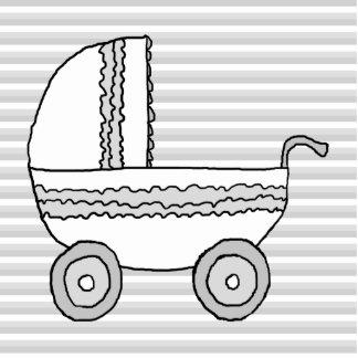 Cochecito de niño blanco y gris del bebé esculturas fotográficas