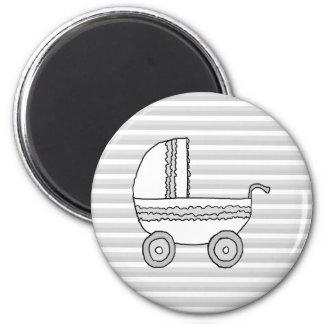 Cochecito de niño blanco y gris del bebé iman de nevera