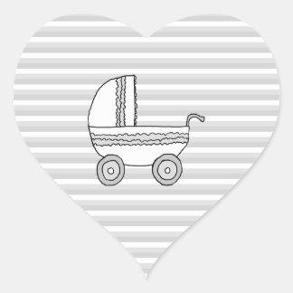 Cochecito de niño blanco y gris del bebé pegatina en forma de corazón