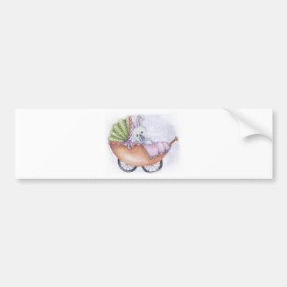 cochecito de niño etiqueta de parachoque