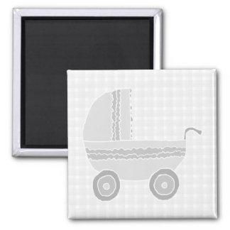 Cochecito de niño gris claro y blanco del bebé iman