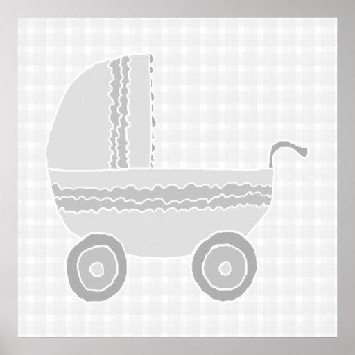 Cochecito de niño gris claro y blanco del bebé poster